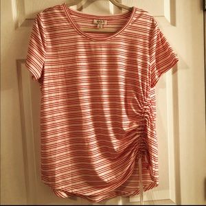Style & Co. red and white striped top